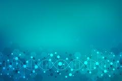 DNA-bundel en moleculaire structuur Genetische biologie of laboratoriumonderzoek Achtergrondtextuur voor medisch of royalty-vrije illustratie