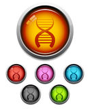 DNA button icon stock illustration