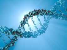 DNA chain. Abstract scientific background. 3D rendering. DNA chain. Abstract scientific background. Beautiful illustraion. Biotechnology, biochemistry, genetics Royalty Free Stock Photography