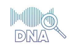Dna chain with magnifying glass. Vector illustration design vector illustration