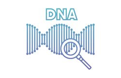 Dna chain with magnifying glass. Vector illustration design stock illustration