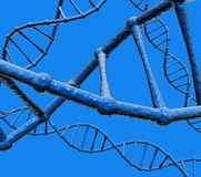 DNA. Chains of DNA on blue background, made in 3D Studio Max Stock Images