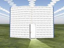 DNA chmurnieje z otwartą książką Obrazy Stock
