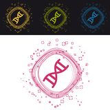 DNA-Chromosom-Knöpfe - bunte Vektor-Kreise - lokalisiert auf Schwarzweiss-Hintergrund vektor abbildung