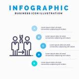DNA, clonazione, paziente, ospedale, linea icona di salute con il fondo di infographics di presentazione di 5 punti illustrazione di stock