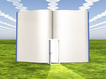 DNA clouds with open book Stock Photo