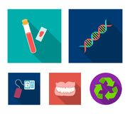 DNA code, blood test in vitro, denture, tonometer. Medicine set collection icons in flat style vector symbol stock. Illustration Royalty Free Stock Photography