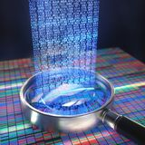 DNA Code Sequence. 3D illustration. DNA Sanger Sequencing and a Magnifying Glass Showing the DNA codes Stock Image