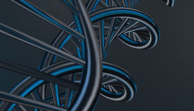 DNA in color background and various material, 3d render illustration Stock Photo