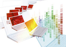 Dna on computer laptops Stock Images