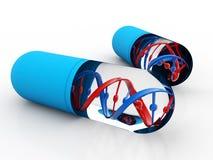 DNA con medicina genetica, concetto medico di tecnologia 3d rendono royalty illustrazione gratis