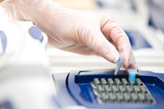 DNA copying, Real-time cycler,. DNA copying, Real-time PCR cycler, white gloves, close royalty free stock photo