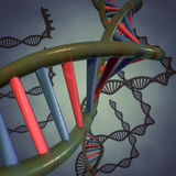 Dna. 3D abstract Digital illustration of DNA spiral Royalty Free Stock Photo