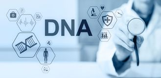 DNA deoxyribonucleic acid. Medical Healthcare Science concept on screen. DNA deoxyribonucleic acid. Medical Healthcare Science concept on screen royalty free stock photo