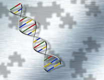 DNA di puzzle su acciaio Fotografia Stock Libera da Diritti