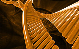Dna. Digital illustration of a dna in colour background stock photos