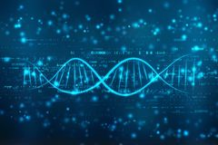 DNA digital illustration in medical abstract background. 2d render of DNA structure, abstract medical background stock photos