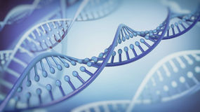 DNA Double Helix abstract background. 3D rendering stock illustration