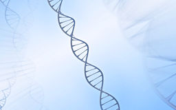 DNA Double helix, metal with white and blue background stock photos