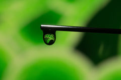 DNA in a drop Green. Photo depicts DNA in a drop at the end of a needle stock photography