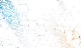 DNA e fondo di tecnologia e medico molecola futuristica Fotografie Stock