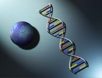 DNA en de Wereld: De menselijke Familie Stock Foto