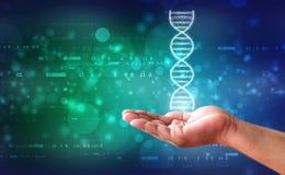 DNA en het concept van het geneticaonderzoek, medische abstracte achtergrond stock foto
