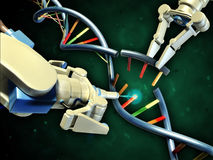Dna engineering. Two robotic arms modifying a dna helix. Digital illustration Royalty Free Stock Images