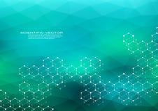 DNA esagonale della molecola della struttura del sistema dei neuroni genetico e composti chimici medici o fondo scientifico illustrazione vettoriale