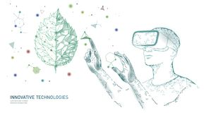 DNA evolution modern engineering technology. Augmented reality helmet vr glasses. Ecology nature gene innovation concept