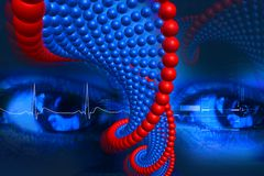 Dna and eye. Digital illustration of DNA and eye in color background Royalty Free Stock Image