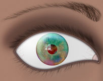 DNA eye. DNA reflected in multicolored eye Vector Illustration