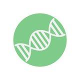 DNA flat icon. Round colorful button, Genome circular vector sign, logo illustration. Stock Photo