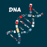 DNA formed of healthcare or medicine icons Royalty Free Stock Photography