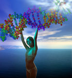DNA genesis. Young goddess holding DNA molecule helix  in the blue cloudy sky over sea with supernal flash above Stock Image