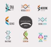 DNA, genetic elements and icons collection Stock Photo