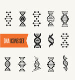 DNA, genetic elements and icons collection Royalty Free Stock Photo