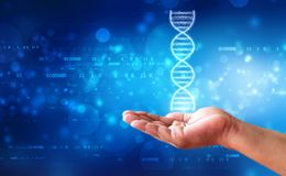 DNA and genetics research concept, medical abstract background. DNA and genetics research concept. Hand is holding glowing DNA molecule in medical technology stock photography