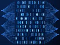 Dna-genombegrepp Genom som testar den medicinska översikten, genordnande i viss följd Bakgrund för vetenskapslösningsvektor stock illustrationer
