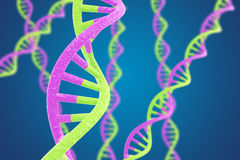 DNA helices on a blue background with shallow DOF Stock Photo