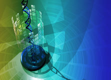 Dna helix. Conceptual image containing human dna helix and autoradiograph design in a fantasy like setting Royalty Free Stock Image