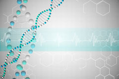 DNA helix in blue with chemical structures Stock Photography