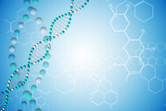 DNA helix in blue with chemical structures Stock Photos