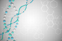 DNA helix in blue with chemical structures Royalty Free Stock Photo