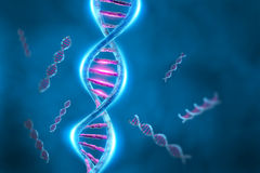 DNA. A 3D illustration representing the human DNA genetic material with double helix molecular strands Stock Photo