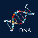 DNA helix from healthcare symbols flat icon Stock Photography