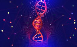 DNA helix. Hi Tech technology in the field of genetic engineering stock illustration