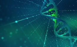 DNA helix. Hi Tech technology in the field of genetic engineering. 3D illustration on a futuristic background stock illustration