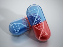 DNA helix inside pill capsules. Standing on reflective surface Royalty Free Stock Photo
