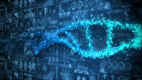 DNA helix molecule loop animation. DNA chromosome concept. Hologram elements of digital data chart. Medical. Future design.